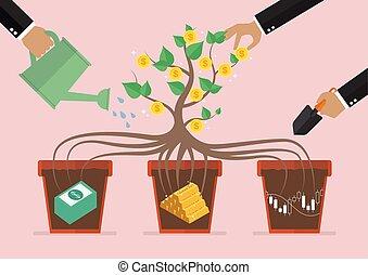 salut, investissement, business, ton