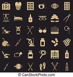 Salutary icons set. Simple set of 36 salutary vector icons for web for any design