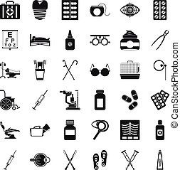 Salutary icons set. Simple set of 36 salutary vector icons for web isolated on white background
