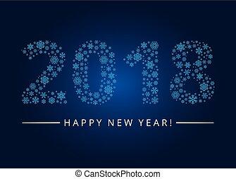 salutation, 2018, année, nouveau, carte, heureux