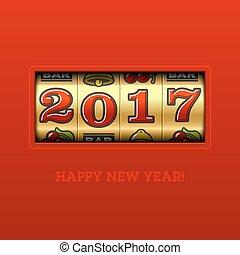 salutation, année, nouveau, 2017, carte, heureux