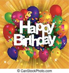 salutation, anniversaire, confetti, ballons, carte, heureux