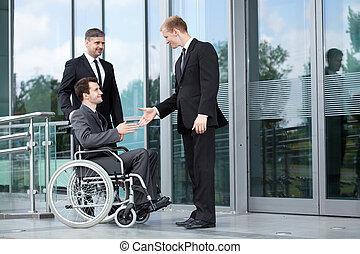 salutation, avant, réunion affaires