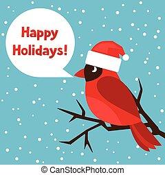 salutation, fetes, cardinal, oiseau rouge, carte, heureux