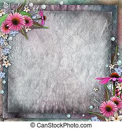 salutation, fleurs, carte