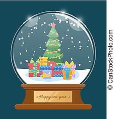 salutation, heureux, vecteur, boule de neige, carte, année, nouveau