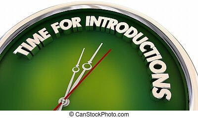 salutation, horloge, temps, réunion, illustration, introductions, 3d