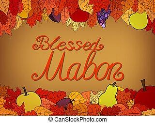 salutation, mabon, automne, -, béni, carte, calligraphic