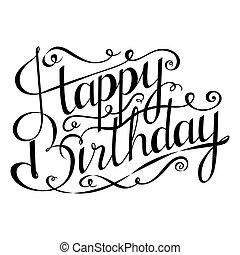 salutation, main, calligraphy., anniversaire, dessiné, heureux, inscription., carte, design.