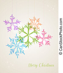 salutation, noël, joyeux, pendre, flocon de neige, carte