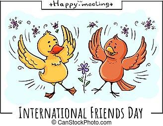 salutation, oiseaux, heureux, réunion, carte, amis
