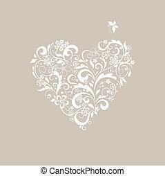 salutation, pastel, carte, à, forme coeur