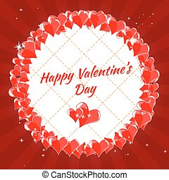 salutation, s, valentin, jour, cœurs, carte, heureux