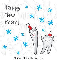 salutation, teeth., année, nouveau, carte, heureux