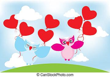 salutation, valentin, hiboux, agréable, jour, carte