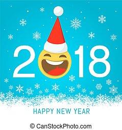 salutation, vecteur, 2018, année, nouveau, carte