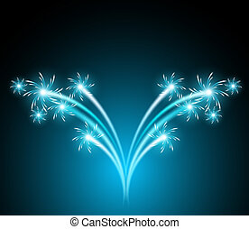Glowing background with salute and firework