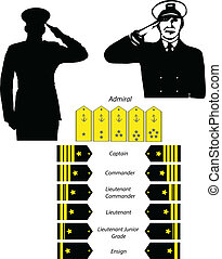 salute and rank recognition vector