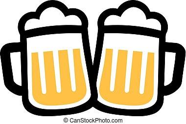 salute, birra, tazze, icone