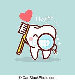 salute, cartone animato, dente