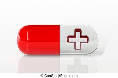 salute, croce, segno, in, uno, medico, capsula