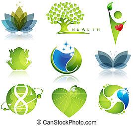 salute-cura, e, ecologia, simboli