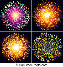 Collection of Colorful vector fireworks, sparklers and salute explosions