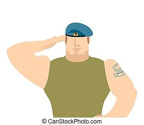 salute., februar, illustration., 23, isolated., defenders, fatherland, holiday., militær, russisk, soldater, rusland, dag