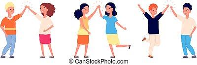 salute, felice, illustrazione, ragazza, adolescenti, ciao, ragazzo, cartone animato, five., bambini, bambini, o, alto, vettore, amicizia, greetings.