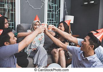 salute, festa, godere, amici