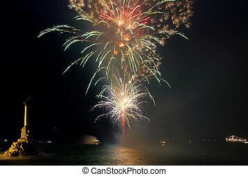 Salute, fireworks above the bay. Sevastopol. - Salute,...