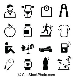 salute, idoneità, e, dieta, icone