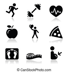salute idoneità, nero, pulito, icona