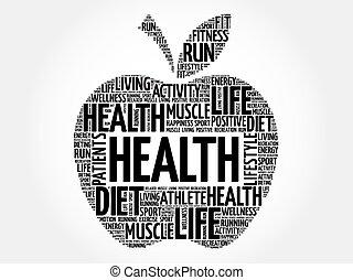 salute, mela, parola, nuvola