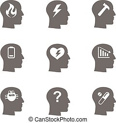 salute mentale, icone, set, stress, concetto, depression.,...