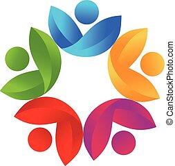 salute, natura, lavoro squadra, logotipo, vettore