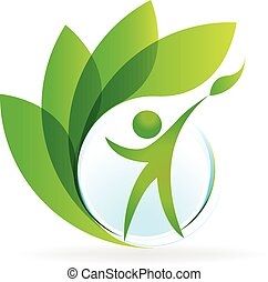 salute, natura, logotipo, vettore