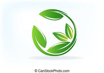salute, natura, mette foglie, logotipo, vettore