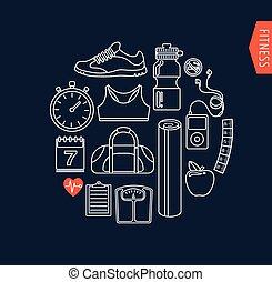 salute palestra, linea, appartamento, icone