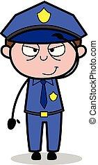 Salute - Retro Cop Policeman Vector Illustration