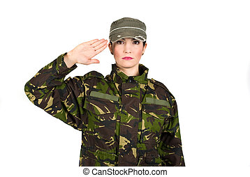 Salute - Woman army soldier saluting isolated on white...