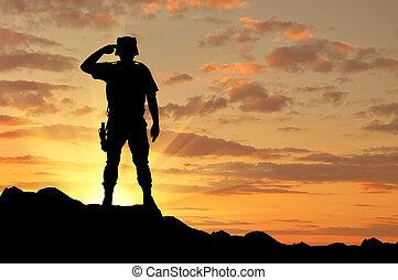 salutes, silueta, soldado