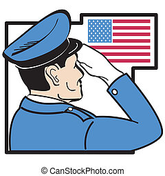 saluting, amerikaner flag, serviceman