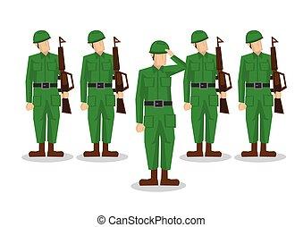 saluting., armia, wojskowy, odizolowany, ilustracja, armata...
