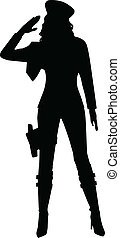 Saluting Military Woman Silhouette - A silhouette of a...