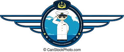 Saluting Navy Officer Badge