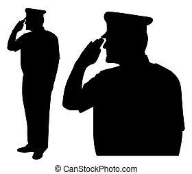Saluting side view - Illustration silhouette of soldier,...