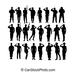 Saluting Soldier and Army Force Silhouettes
