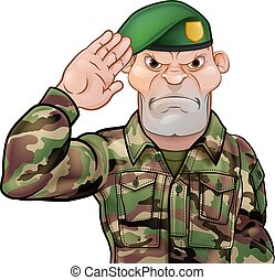 Saluting Soldier Cartoon
