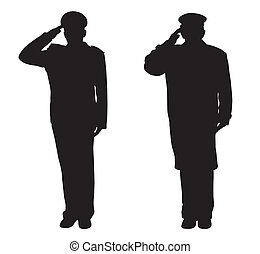 Saluting - Soldier, officer, captain, policeman, sailor or...